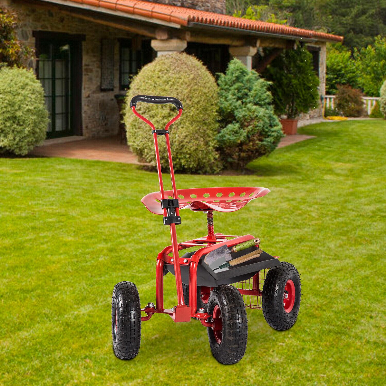 330lbs adjustable rolling garden cart gardening work