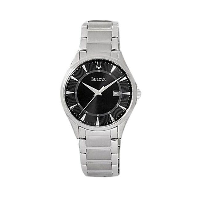 bulova 96b184 men s stainless steel black quartz watch bulova men s 96b184 stainless steel black dial quartz watch
