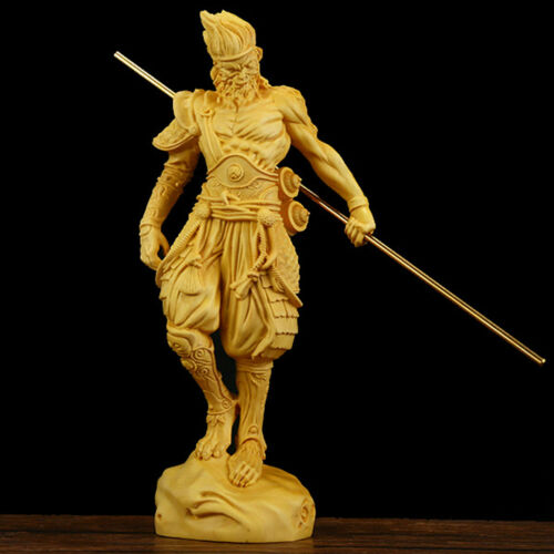 Boxwood Monkey King Sun Wukong Goku Statue Wood Carving Sculpture Collection New