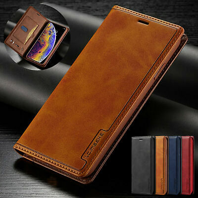 Genuine Leather Flip Case Cover for iPhone 11 Pro & 7 Plus 6s Xr Xs max- Vintage
