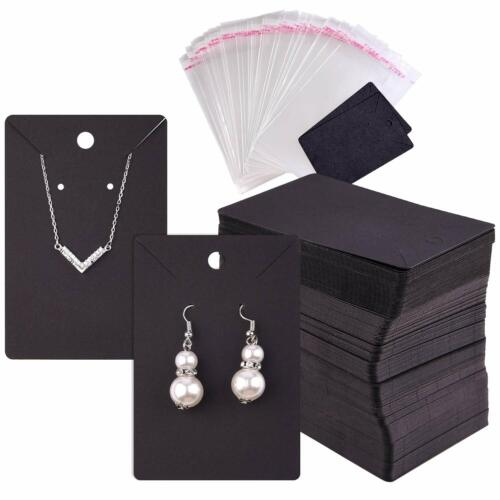 Earring Necklace Display Card Holder, 120 Pcs Self-Seal Bags Blank Kraft Paper