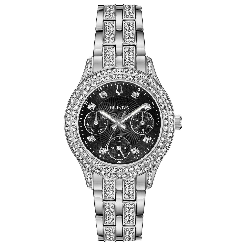 מוצר - Bulova Women's 96N110 Quartz Crystal Markers Black Dial Silver-Tone  33mm Watch