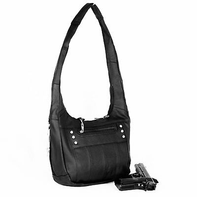 Leather Locking Concealment Purse - CCW Concealed Carry Gun Handbag - Gun Holster Purse