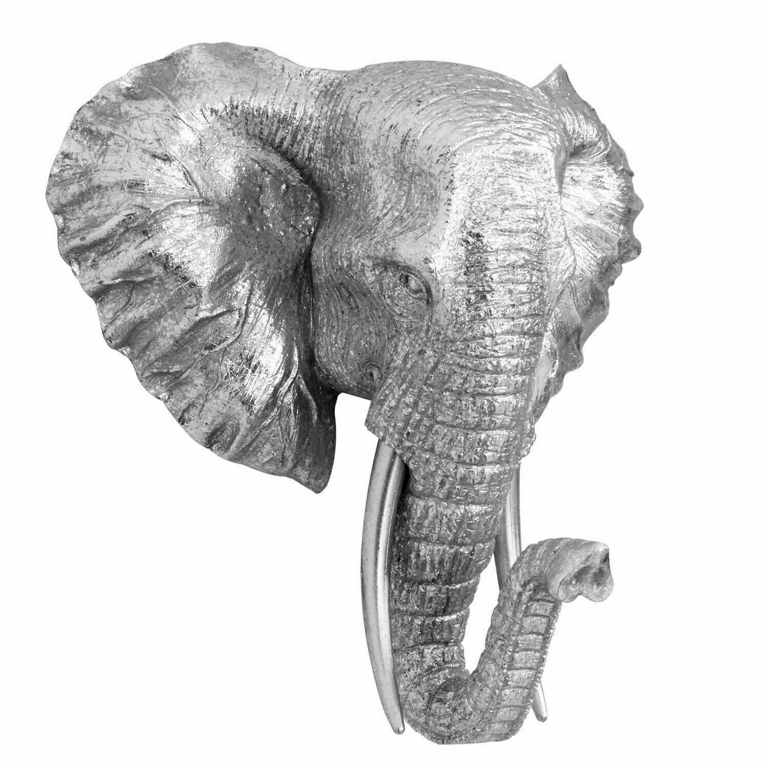 Details About Silver Elephant Head Bust Wall Art Sculpture 27 Cm