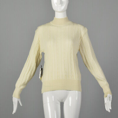 80s Sweatshirts, Sweaters, Vests | Women Small 1980s Cream Sweater Turtleneck Wool Cable Knit Winter White Jumper 80s VTG $91.80 AT vintagedancer.com