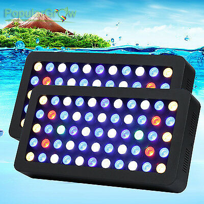 2Pcs PopularGrow Dimmable Grow LED Aquarium Light Full Spectrum Reef Coral Lamp