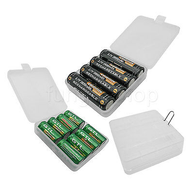 2x Hard Clear Plastic Battery Case Holder Storage carry box For 4x 18650 8x 123A
