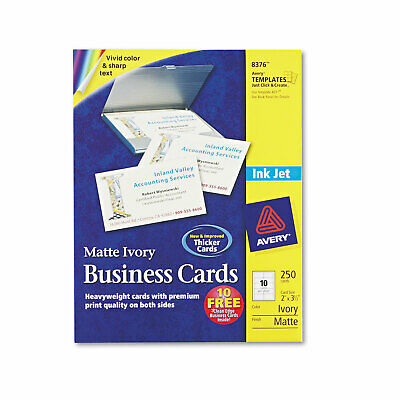 Avery Printable Microperf Business Cards Inkjet 2 X 3 12 Ivory Matte 250pack