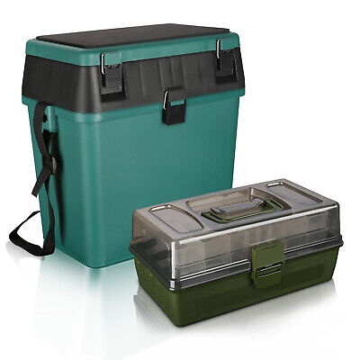 RODEEL Fishing Seat Box & 2 Trays Cantilever Fishing Tackle Box set Padded Strap