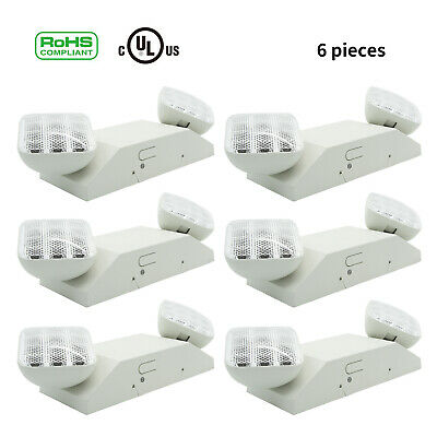 6pcs LED Emergency Exit Light Lamp Lighting Fixture Twin Square Heads Universal Emergency Lighting Fixture