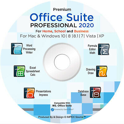 Office Suite 2020 CD DVD Compatible with Microsoft® Word® Excel® for Windows MAC
