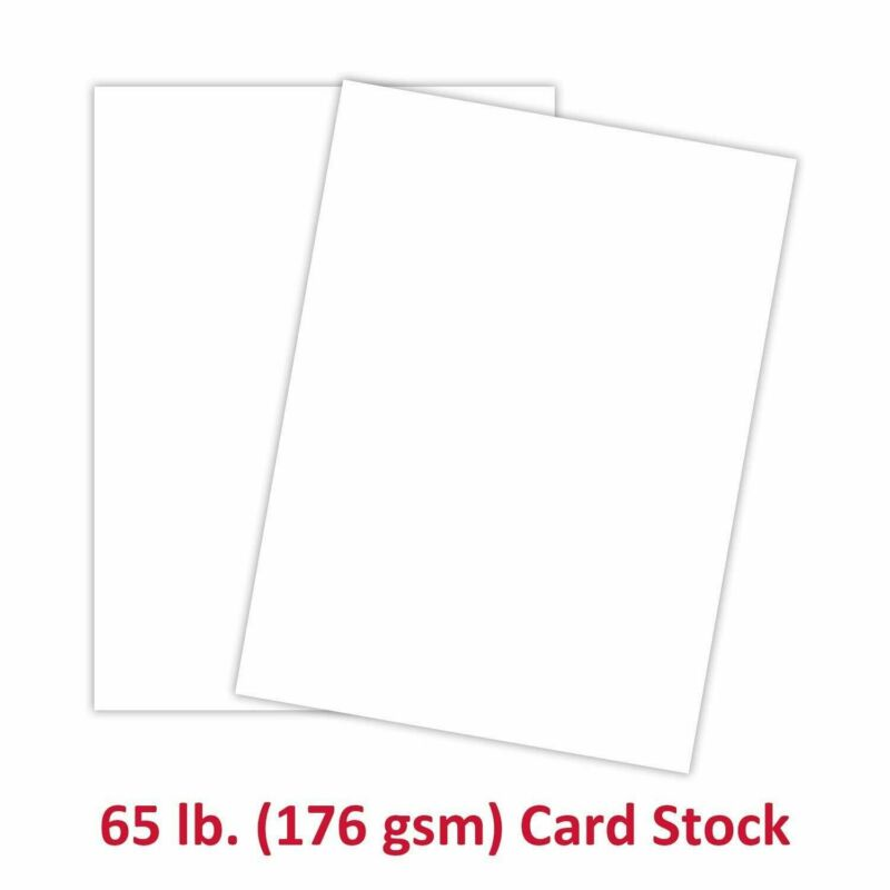 """8.5 x 11"""" White Card Stock Paper - 65lb Cover (176gsm) - 96 Bright - 50 Sheets"""