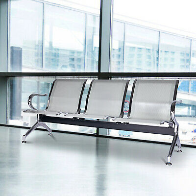 3-seat Airport Reception Waiting Room Chairs Office Guest Salon Barber Bench