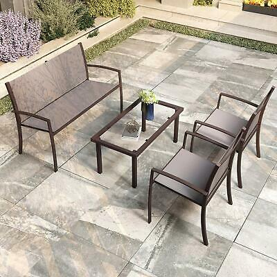 Garden Furniture - Garden Furniture 4x Patio Set Glass Table and Chairs Corner Lounge Outdoor Brown