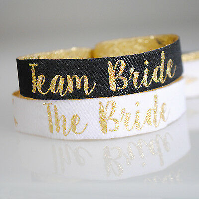 Team Bride Black & Gold Hen Party Wristbands / Hens Party Accessories](Team Bride Wristbands)