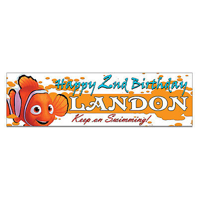 Personalized and Custom Printed Finding Nemo Birthday Banner Party Favor ()