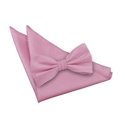 DQT Woven Plain Solid Check Light Pink Mens Pre-Tied Bow Tie & Hanky Set Bow Tie Solid Light