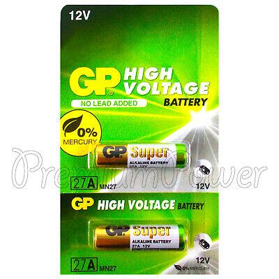 2 x GP 27A Alkaline Super batteries 12V MN27 A27 GP27A E27A EL812 L828 Alarms Batterien 27a 12v Alarm