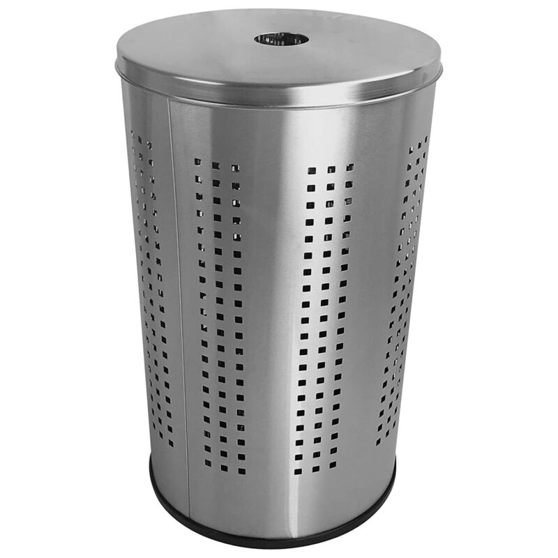 Krugg 46 Liter Clothes Basket Laundry Hamper with Lid, Brushed Stainless Steel