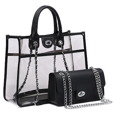 Women Transparent Handbag Satchel Clear Tote Versatile Bag w/ Twist Lock  ()