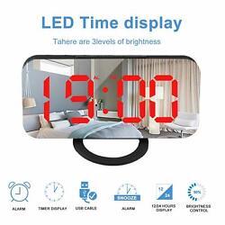 Digital LED Alarm Clock Snooze Timer 12/24 Hour Display Night Light Mirror w/USB