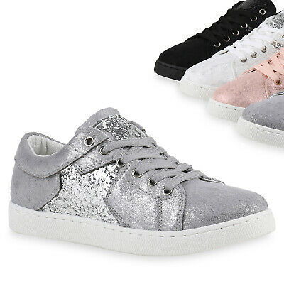 895168 Damen Glamour Sneakers Sportschuhe Glitzer Metallic Schuhe Trendy Metallic-schuhe