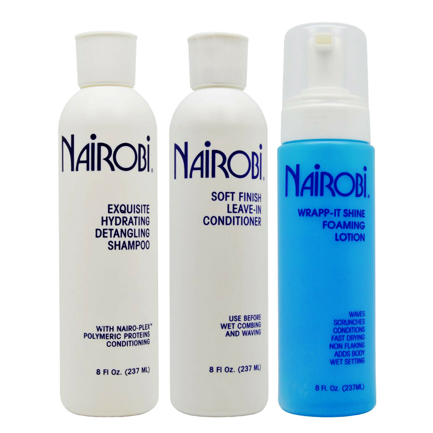 Nairobi Exquisite Hydrating Detangling Shampoo + Leave-In + Wrap-it Shine Set Hair Care & Styling