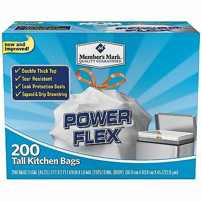 200 Trash Garbage Tie Drawstring TALL KITCHEN Bags 13 gallon WHITE POWER FLEX