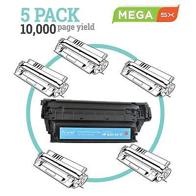 Compatible HP 12A Q2612A Black Toner Cartridge 5 Pack > 4 pack 3 pack 2 pack for sale  Shipping to India