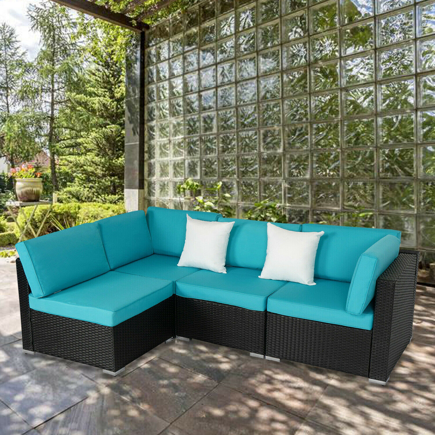 Garden Furniture - 4 pcs Outdoor Patio Wicker Rattan Sofa Set Garden Couch Furniture w / 2 Pillows