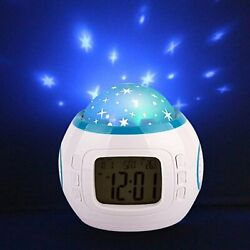 Kids Alarm Clock Sky Star Night Light Projector Lamp Music Backlight Calendar