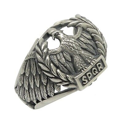 Eagle Sterling Silver 925 biker mens ring Roman Empire SPQR , Handcrafted