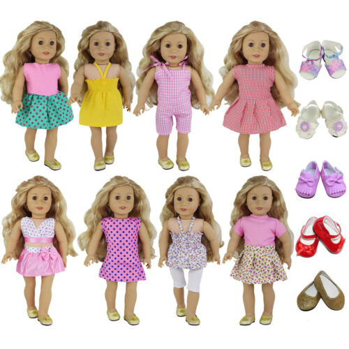"For 16-18/"" Doll Clothes Lot 8 Sets Daily Party Dress Outfit 2 Pairs Shoes Gift"