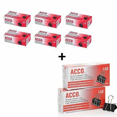 Acco Small Binder Clips Steel Wire 516 Cap. 34w Blacksilver 6 Packs Acc720...