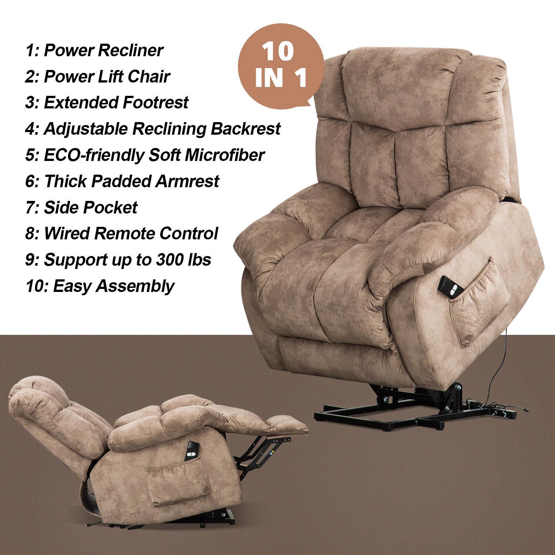 power lift chair recliner overstuffed fabric 20