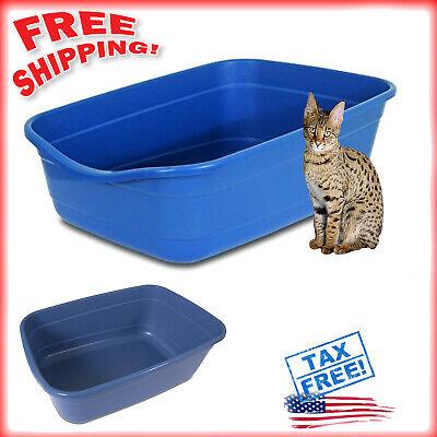 Back Cat Litter Pan - Cat Extra Large Litter Box Big Kitty High Back Pan Pet Animal Jumbo NON-STICK