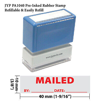 Mailed By Date - Jyp Pa1040 Pre-inked Rubber Stamp Red Ink