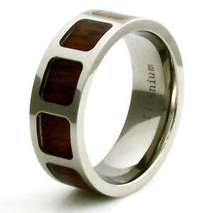 men 39 s titanium mahogony wood inlay pattern wedding band ebay