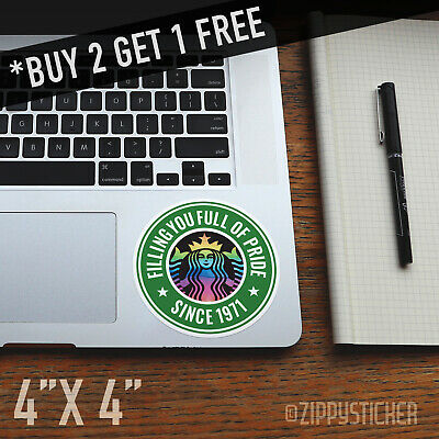 Starbucks Pride Sticker - Window Car Laptop Decal Tumbler Rainbow LGBT Coffee