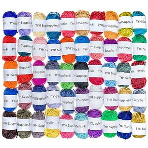 50 Acrylic Yarn Skeins Huge Lot Mixed Assorted Colors DK Weight Three New