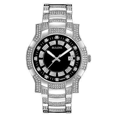 Bulova Men's 96B176 Quartz Swarovski Crystals Black Dial Stainless Steel Watch