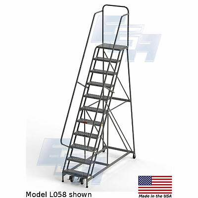 Ega L058 Steel Industrial Rolling Ladder 11-step 24 Wide Perforated Gray 450