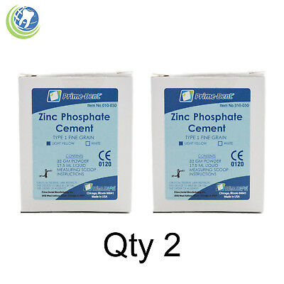 2x Dental Zinc Phosphate Cement Kit Permanent Crown Bridge Veneer Light Yellow