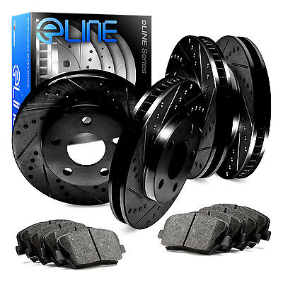 Front and Rear Black Drilled Slotted Brake Rotors &  Ceramic Pads CBC.42089.02