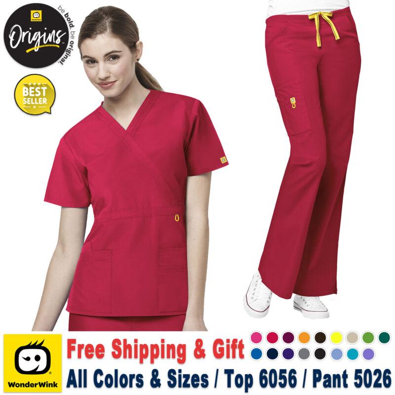 d964eed6ff4 WonderWink Scrubs Set ORIGINS Fashion Waist Top & Flare Leg Cargo  Pant_6056/5026