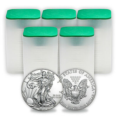 SPECIAL PRICE! 2016 1 oz Silver American Eagle Coins BU (Lot of 100, Five Tubes)