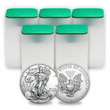 2016 1 oz Silver American Eagle Coins BU (Lot of 100, Five Tubes/Rolls)