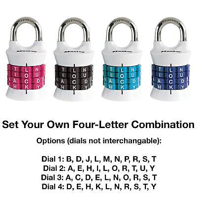 Master Lock Letter Combination Padlock One Pack Assorted Colors 1535dwd