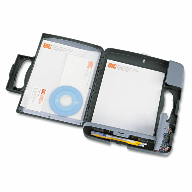 """Officemate Portable Storage Clipboard Case 3/4"""" Capacity Holds 9w x 12h Charcoal"""
