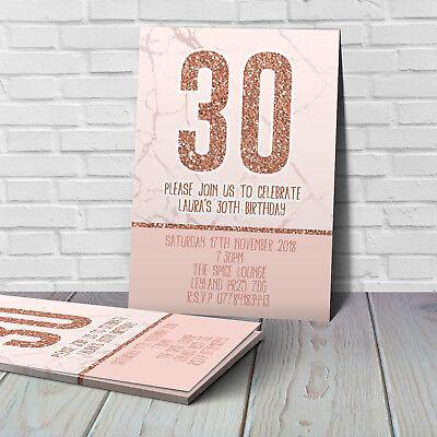 ROSE GOLD BIRTHDAY INVITATIONS - 18th, 21st, 30th, 40th, 50th, ANY AGE (50th Birthday Invitations)